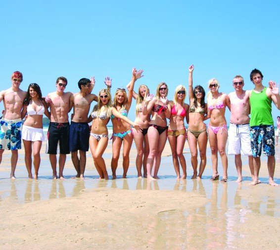Divemaster internship Tenerife, Canary Islands, PADI Divemaster internship Group of interns party at the beach Europe